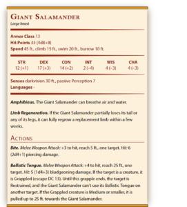 DnD 5e salamander mount