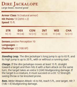 5e mount Dire jackalope