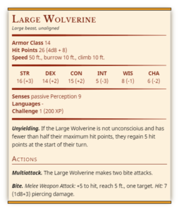 Wolverine mount dnd 5e