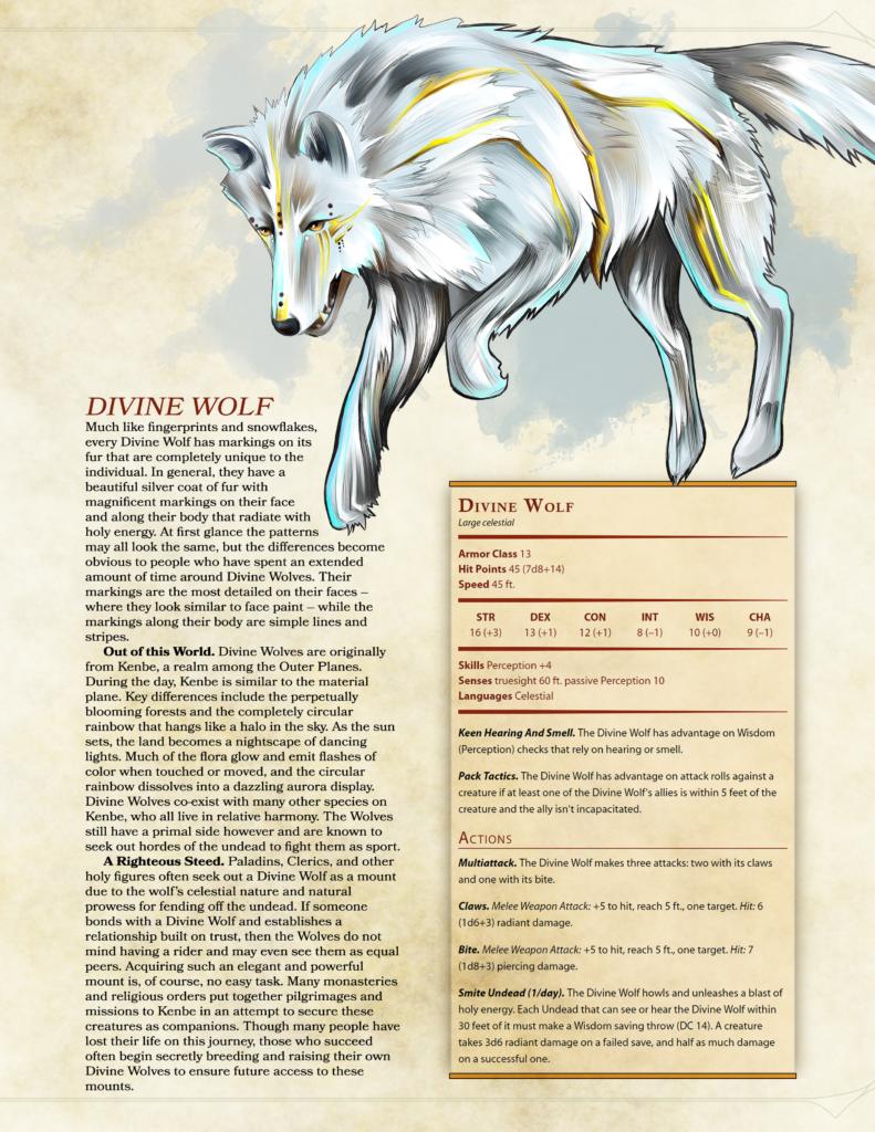 D&D 5e exotic mounts wolf