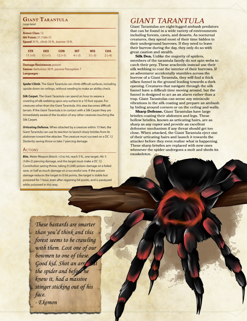 D&D 5e exotic mounts spider